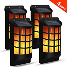 Flame Lights Outdoor, Solpower Waterproof Flickering Flame Wall Lights with Dark Sensor Auto On/Off 66 LED Solar Powered Night Lights Lattice Design for Garden Pathway Patio Deck Yard (4 Pack)