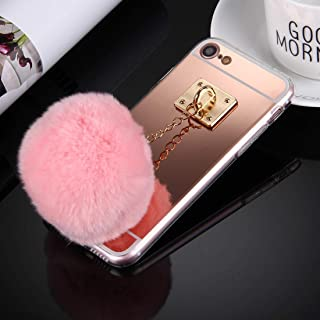 QFH For iPhone 8 & 7 Electroplating Mirror TPU Protective Cover Case with Furry Ball Chain Pendant(Black) new style phone case (Color : Rose Gold)
