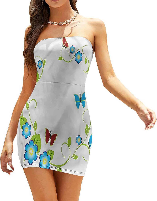 Women's Sleeveless Sexy Tube Top Dress Graphic Artistic Flowers Dresses