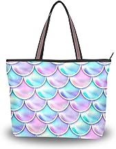 Ahomy Große Strandtasche, Flieder, magische Meerjungfrauen-Schuppen, Reisetasche, Urlaub, Einkaufen, Handtaschen