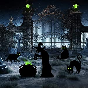 5 Pack Halloween Yard Signs Stakes Outdoor Decorations,1 Witches and Black Cauldron Silhouette and 3 Scary Black Cat Weatherproof Halloween Signs for Lawn Garden Creepy Family Halloween Plastic Decor