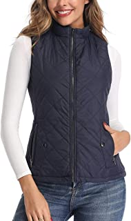 Art3d Women's Vests - Padded Lightweight Vest for Women, Stand Collar Quilted Gilet with Zip Pockets