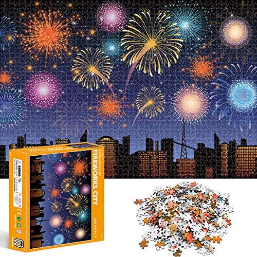 Puzzle Redondo 2000 Piezas,Rompecabezas Redondo,Puzzle Creativo,Puzzle Arcoiris,Puzzle Adultos (Fuegos Artificiales)