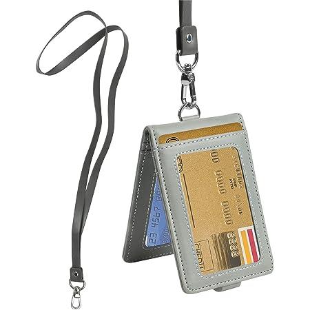 Porte Badge Carte avec Cordon Titulaire de Carte D'identité Badge D'identification en Cuir Verticaux Protection Pochettes pour Cartes d'identification, Carte de Crédit, Carte d'étudiants, Visite, Bus