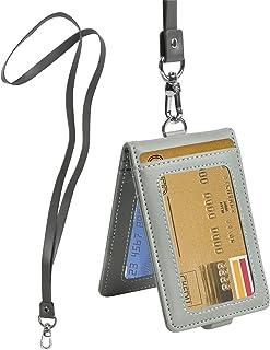 Porte Badge Carte avec Cordon Titulaire de Carte D'identité Badge D'identification en Cuir Verticaux Protection Pochettes ...