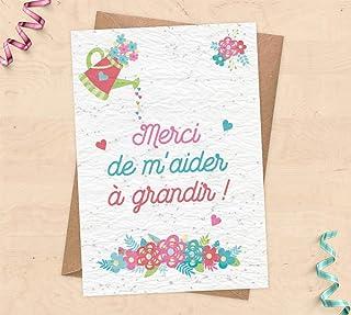 Carte à planter pour cadeau nounou, Maîtresse, ATSEM - Carte de remerciements