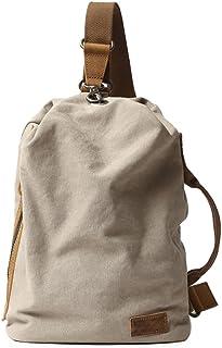 Neuleben Vintage Sling Rucksack Schulterrucksack Canvas Daypack Brusttasche Retro Schultertasche Klein Damen Herren für Reise Outdoor Sport Freizeit Beige