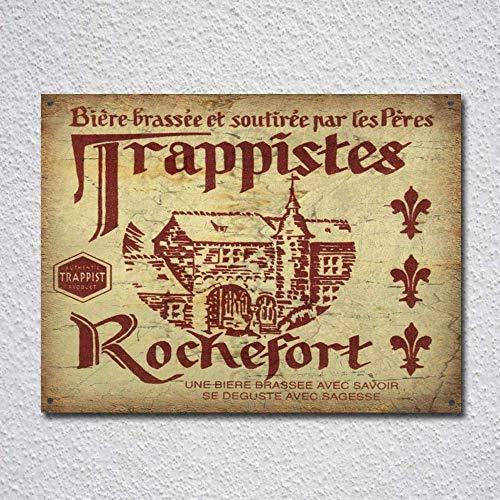 IUBBKI Rochefort Trappist Belga Lager Cerveza Vintage Cartel de Metal Cartel de Metal Decoración Metal Pintura Metal Etiqueta de Pared Señal de Pared Decoración