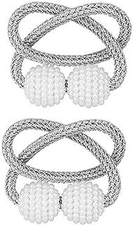 1 Pair Magnetic Curtain Tiebacks Decorative Rope Holdback Holder for Window Drapries (Gray)