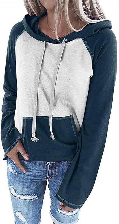 Xinantime Women's Raglan Tops Color Block Long Sleeve Blouse Hoodies Pullover Drawstring Shirts Sweatshirt with Pockets