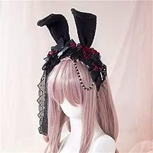 Princess Sweet Lolita Rose Hair Rabbit Ear Headband Japanese Harajuku Headwear Gothic Lace Yarn Hair Cosplay Accessory Xiaolanwelc (as photo)