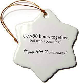 3dRose Happy 18th Anniversary - 157788 Hours Together - Snowflake Ornament, Porcelain, 3-Inch (ORN_224663_1)