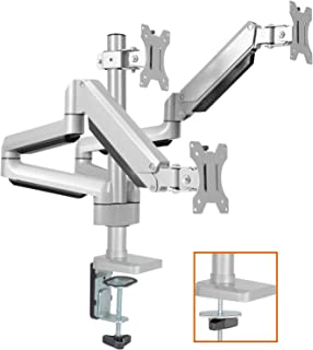 Triple Monitor Stand Mount - Full Motion 3 Monitor Mount Desk Stand, Height Adjustable Gas Spring Arms Fits 17 to 27 Inch LCD Computer Monitors