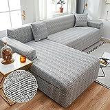 WXQY Chaise Longue Cubierta del sofá de la Sala de Estar Cubierta elástica para el Cabello, Todo Incluido sofá telescópico a Prueba de Polvo en Forma de L sofá A20 1 Plaza