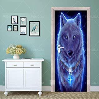 Autocollants de porte 3D pour portes intérieures 95 X 215 Cm Blue Ray Animal loup affiche auto-adhésive autocollants d'art...
