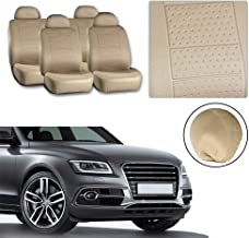 TUPARTS Embossed Cloth Car Seat Cover 8pcs fit for Most Cars with Headrest,5mm Double Composite Sponge Beige