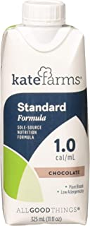 Kate Farms Standard 1.0 Chocolate Meal Replacement Formula Drink, Dairy, Soy, and Gluten-Free, Essential Vitamins, Organic...