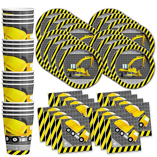 Construction Trucks Birthday Party Supplies Set Plates Napkins Cups Tableware Kit for 16