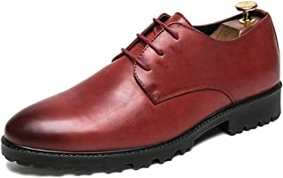 Sygjal Men's Business Oxford Casual New Style Simple Classic British Style Formal Shoes (Color : Red, Size : 41 EU)