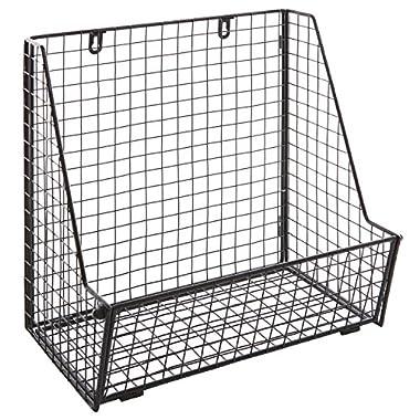 Modern Black Metal Wire Wall Mounted Hanging Towel Basket/Freestanding Magazine/File Organizer Rack
