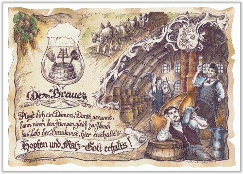 Geschenk Brauer Brauerei Bier brauen Zeichnung Color 30 x 21 cm