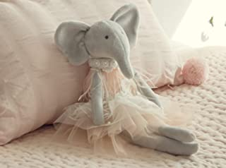 Inspired by Jewel Daisy The Elephant Premium Quality Floppy Elephant Plush Doll Gift with Delicate Pink & Lace Tutu | Elegant Feather & Pearl Details | Playable Toy with Movable Legs & Huggable Arms