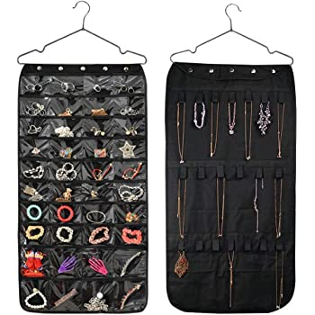 HUSTON LOWELL Hanging Jewelry Organizer Double Sided 40 Pockets & 20 Magic Tape Hook Storage Bag Closet Storage for Earrings Necklace Bracelet Ring Display Pouch (Black)