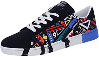 Aoogo Herren Mode Casual Lace-Up Canvas Sportschuhe Sneakers Graffiti-Schuhe Combat Hallenschuhe Worker Laufschuhe Wanders...