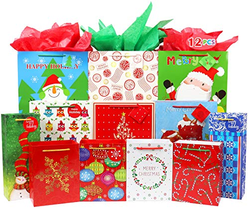 Fzopo Christmas Gift Bags Bulk Set Includes 3 Extra Large 3 Large 2 Bottle 4 Medium with Tags and Handles Christmas Print Gift Bags Assorted Sizes for Wrapping Holiday Gifts