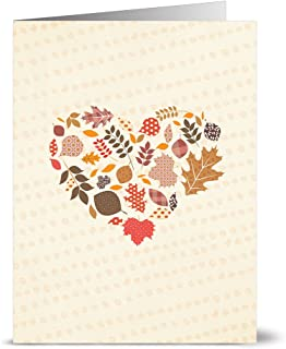 Fall Greeting Cards 24 Pack – Happy Fall Heart – Unique Seasonal Design – KRAFT ENVELOPES INCLUDED – Blank Greeting Card – Glossy Cover Blank Inside – By Note Card Café