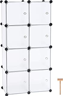 """C&AHOME Cube Storage Organizer, 8-Cube Plastic Closet Cabinet, DIY Bookcase Organizer Units, Storage Shelve with Doors Ideal for Bedroom, Living Room, 24.8""""L x 12.4"""" W x 48.4"""" H Translucent White"""