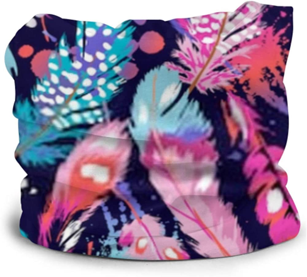 Headbands For Men Women Neck Gaiter, Face Mask, Headband, Scarf Beautiful Feathers Seamless Background Turban Multi Scarf Double Sided Print Elastic Headbands For Women For Sport Outdoor