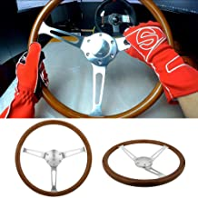 """Universal 380mm 15"""" Inch Grant Classic Nostalgia Style Wood Grain Steering Wheel with Horn Kit"""