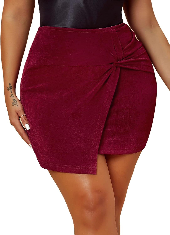 SheIn Women's cheap Twist Front Asymmetrical Bodycon Sk Popular popular Short Hem Mini