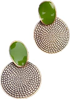 Niome Women Vintage Big Drop Green Round Annual Ring Shape Stud Earrings