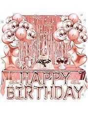 Globos Cumpleaños Decoracione, Feliz Decoración Fiesta Cumpleaños Oro Rosa, Globos de Látex Impresos, Globo para Hombres y Mujeres Adultos Decoración de Fiesta Manteles