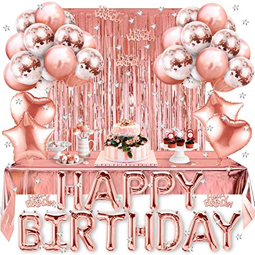 Globos Cumpleaños Decoracione, Feliz Cumpleaños Decoración Fiesta Cumpleaños Oro Rosa, Suministros y Decoración Globo para Hombres y Mujeres Adultos Decoración de Fiesta Manteles,Confetti,Globos Impresos