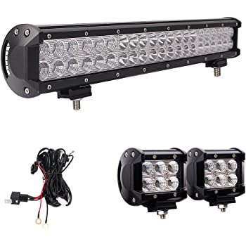 Amazon Com Led Light Bar Northpole Light 22 Inch 120w Waterproof Spot Flood Combo Led Light Bar With 2pcs 18w Cree Flood Led Work Lights And 12v 40a Wiring Harness For Off Road
