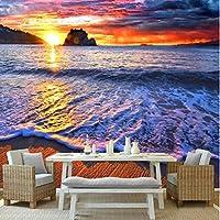 Iusasdz カスタム壁画壁紙3Dファンタジー美しい日の出海辺の風景フレスコリビングルーム寝室の家の装飾3D-280X200Cm