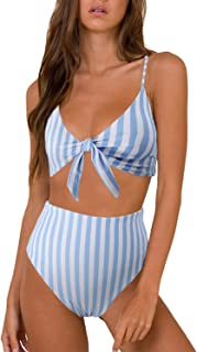Womens High Waisted Bikini Set Tie Knot High Rise Two Piece Swimsuits Bathing Suits