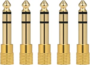 Anself 5PCS Audio Jack Adapter 6.35mm Male 3.5mm Female Stereo Jack Convertor Plug for Microphone Headphone Amplifier