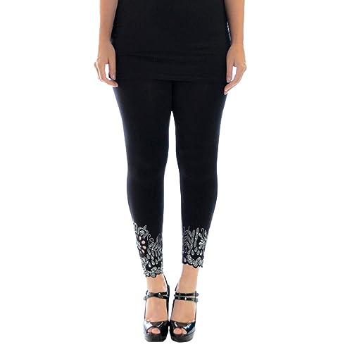 506a6184271 Womens Plus Size Leggings Beaded Floral Sequin Laser Cut Soft Pants  Nouvelle Collection