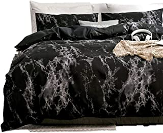 Spring Meow Black Duvet Cover Queen Marble Bedding Set with Zipper Closure, Also as Quilt Cover or Comforter Cover, Queen, Black 3 Pieces(1 Duvet Cover + 2 Pillowcases)