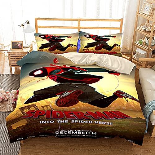 Proxiceen Marvel Spiderman - Juego de funda nórdica y fundas de almohada para niños, de microfibra supersuave, juego de cama Fashion Fun (Spiderman 3,135 x 200 cm)