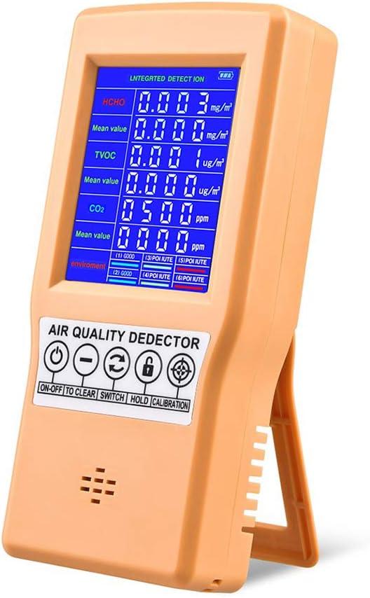 Medidor de calidad del aire con pantalla LCD, multifunción, detector de gas de aire, formaldehído HCHO TVOC, monitor de calidad del aire para vehículos de la oficina en diferentes ocasiones