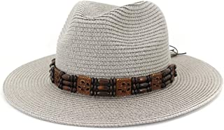 Sun Hat for men and women Summer Women Beach Straw Sun Hat Retro Ethnic Sunshine Wide Beads Knit Belt Edge Weave Beach Floppy Hat Wheat Straw Sombrero Hat