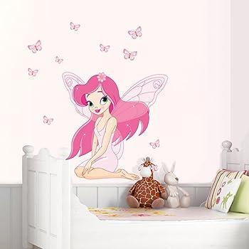 Hallobo Wandtattoo Fee Elfen Schmetterlinge Madchen Wandaufkleber Prinzessin Wandsticker Kinderzimmer Madchen Kinder Baby Amazon De Kuche Haushalt