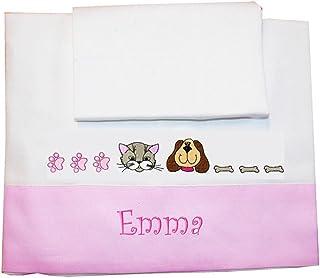 """ZIGOZAGO - Set per culla o lettino """"CANE e GATTO"""" in piquet di cotone in 3 pezzi con nome personalizzato. Federa, lenzuolo..."""