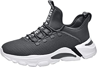 AUCDK Men Breathable Sneakers Mesh Upper Lace Up Ultra Light Trainers with Non Slip Sole for Running and Training