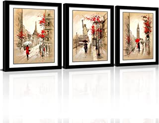 CANVASZON Framed Abstract Wall Art Romantic Paris Street Eiffel Tower Oil Painting Kissing Couple Gift Giclee Print on Canvas for Wall Deco 3pcs/Set with Black Frame